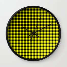 Classic Yellow Country Cottage Summer Buffalo Plaid Wall Clock