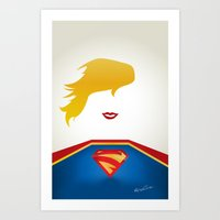supergirl Art Prints featuring SUPERGIRL by Roboz