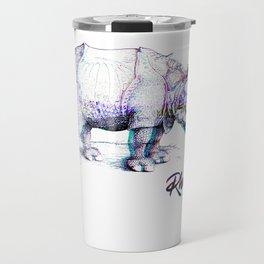 Rhino Glitch   Digital Art Travel Mug