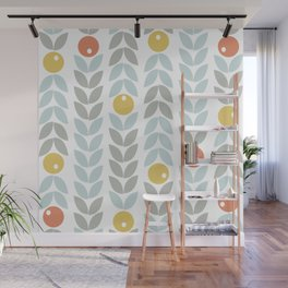 Mid Century Modern Retro Leaf and Circle Pattern Wall Mural