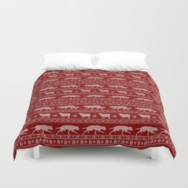 Ugly christmas sweater | Border collie red Duvet Cover