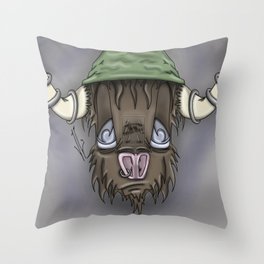 Cartoon Buffalo Throw Pillow