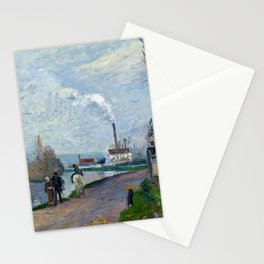 """Camille Pissarro """"The Oise near Pontoise in Grey Weather"""" Stationery Cards"""