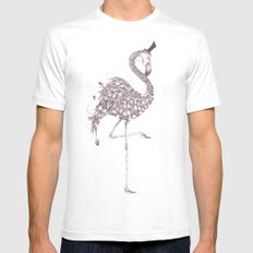 Flamingo White SMALL Mens Fitted Tee
