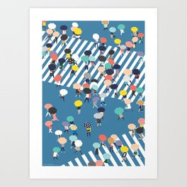 Crossing The Street On a Rainy Day - Blue Art Print
