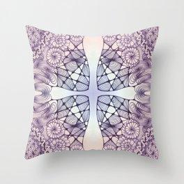 Purple Wash Zentangled Cross Tile Doodle Design Throw Pillow