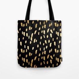 Gold Stripes on Black Tote Bag