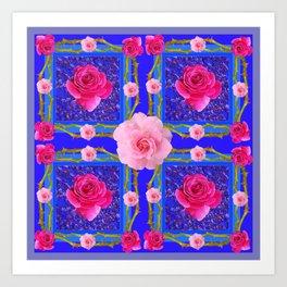 BLUE  GEOMETRIC ART CERISE & PINK FUCHSIA ROSES Art Print