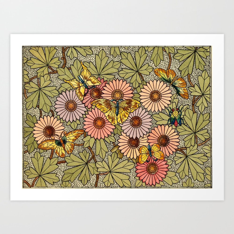 Flower Butterfly Cubism Mosaic Art Print by Danend PRN8585462