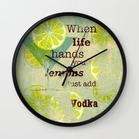 vodka Wall Clocks featuring Add Vodka by Joe Sander