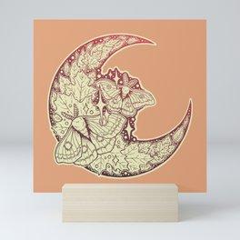 Moth & Moon   Autumn Terra Cotta Palette   Nature Art Mini Art Print