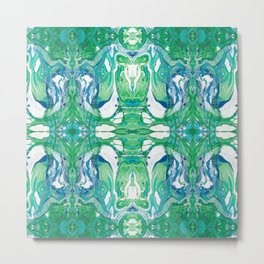 Marbled Pattern in Blue and Green Metal Print