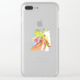 Horse Colorful Variation Clear iPhone Case