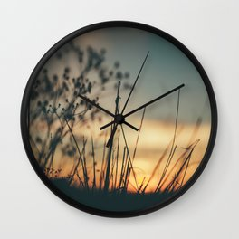 Vintage Wild Grass Sunset Wall Clock