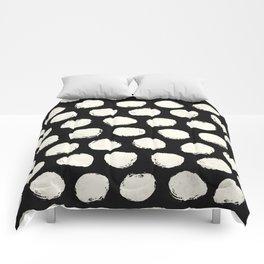 Trendy Cream Polka Dots on Black Comforters