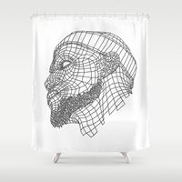 lebron Shower Curtains featuring Basketball King by NEW YORK STUDIO 202