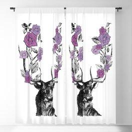 The Stag and Roses | Deer and Flowers | Purple | Vintage Stag | Vintage Deer | Antlers | Woodland | Blackout Curtain