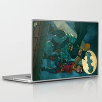 justice league Laptop & iPad Skins featuring bat man the watch men justice league man of steel by Brian Hollins art