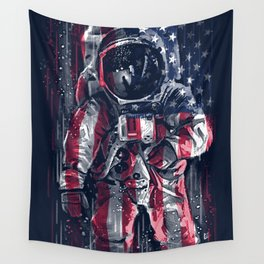 Astronaut Flag Wall Tapestry