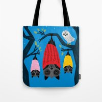 blankets Tote Bags featuring Bats in Blankets by Oliver Lake