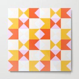 geometric retro fall design Odei Metal Print