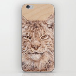Lynx Portrait - Drawing by Burning on Wood - Pyrography Art iPhone Skin