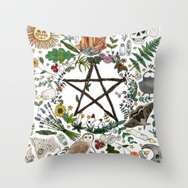 Witch pattern design Throw Pillow