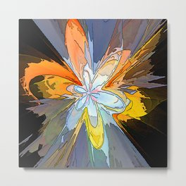 Gold Flower Abstract Metal Print
