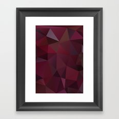 Abstract background of triangles polygon design red marsala colors Framed Art Print