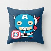 avenger Throw Pillows featuring Littlest Avenger by OneWeirdDude