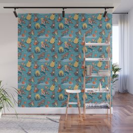 Memories of a Sweet Pit Bull Doggie Friend named Venice // blue linen texture background Wall Mural