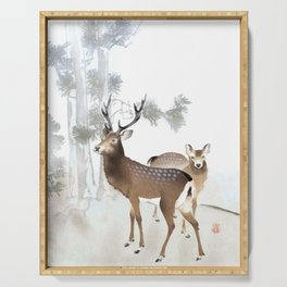 Couple Of Deer Under The Full Moon - Vintage Japanese Woodblock Print Art Serving Tray