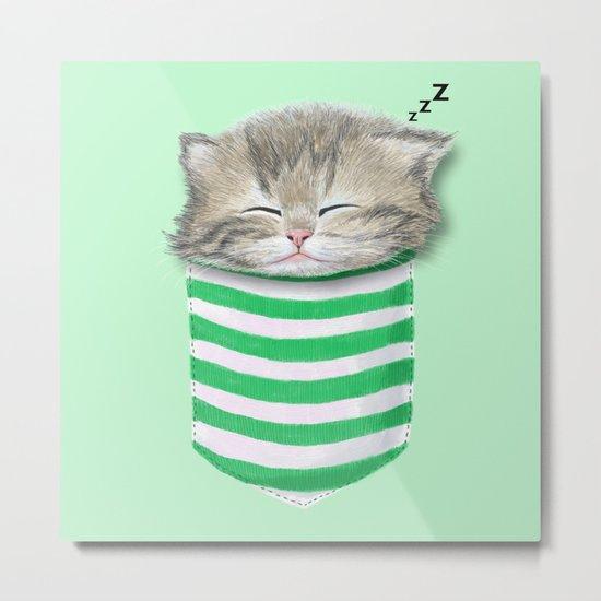 Cat in the Pocket Metal Print