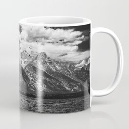Mountain Summer Escape - Black and White Tetons Coffee Mug