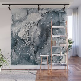 Icy Payne's Grey Abstract Bubble / Snow Painting Wall Mural