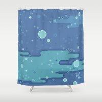 8bit Shower Curtains featuring Blue Space Bubbles (8bit) by Sarajea