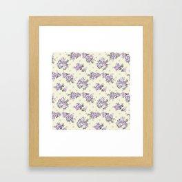 Vintage chic pastel lavender blue ivory roses polka dots pattern Framed Art Print