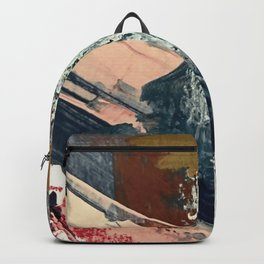 Kelly [2]: a bold, textured, abstract mixed media piece in fall colors/ blue, burnt sienna, ochre Backpack