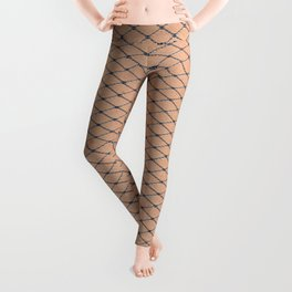 Silver Woven Fishnets With Skin Texture Leggings