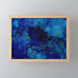 NEW Alcohol Ink Deep Blue Trip I Framed Mini Art Print