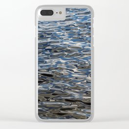 Water surface silver and blue Clear iPhone Case
