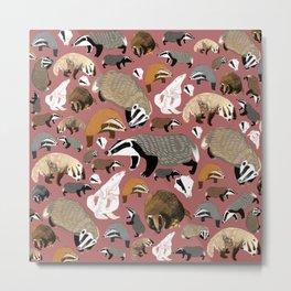 Eurasian badgers pattern Pink Metal Print