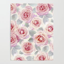 Mauve and Cream Painted Roses Poster