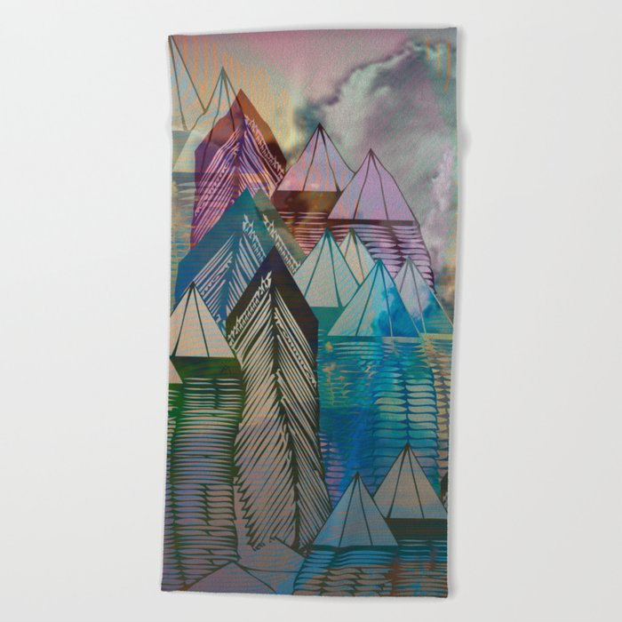 Triangular Endings on the Top Above the Clouds / Urban 04-11-16 Beach Towel