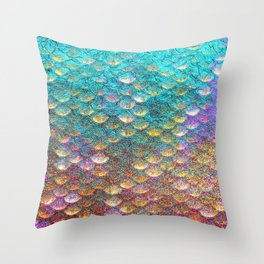 Aqua and Gold Mermaid Scales Throw Pillow