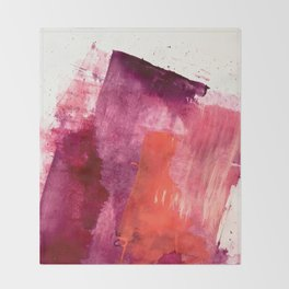 Blushing: a vibrant, minimal abstract in purple, pink, and red Throw Blanket