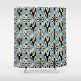 Retro Mid Century Modern Atomic Triangles 732 Blue and Black Shower Curtain