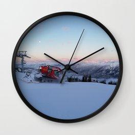 Morning animal of ski resort: Snowcat at work Wall Clock