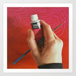 Hand With Paintbrush and Paint  Photography by Imaginarium Arts Art Print