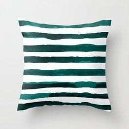 Watercolor Stripes (Emerald Green) Throw Pillow